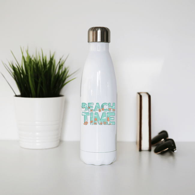 Beach time stainless steel water bottle - Make It Print