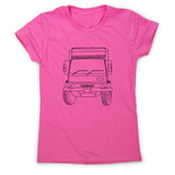 Penelope truck line print women's t-shirt - Make It Print - Penelope the Truck