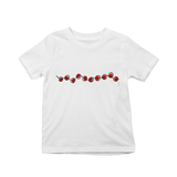 Red beads on a string kids t-shirts
