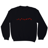 Red beads on a string sweatshirt