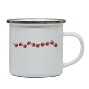 Red beads on a string camping mug