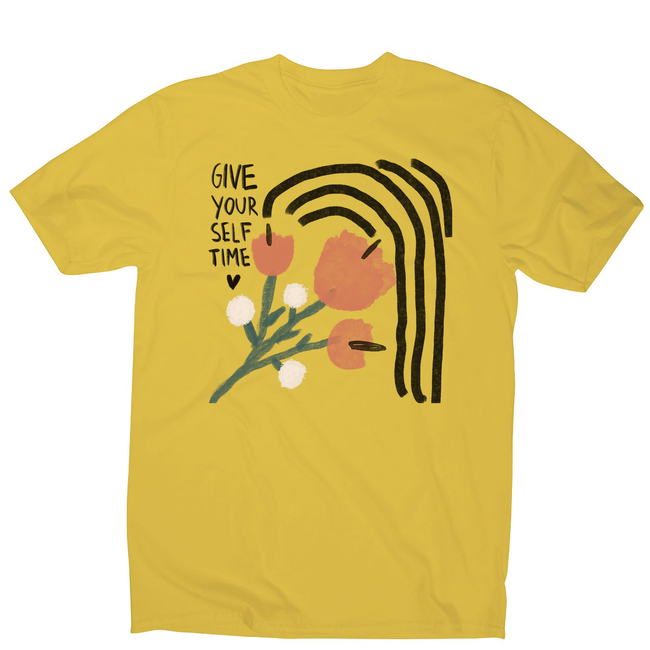 Give yourself time men's t-shirt Yellow