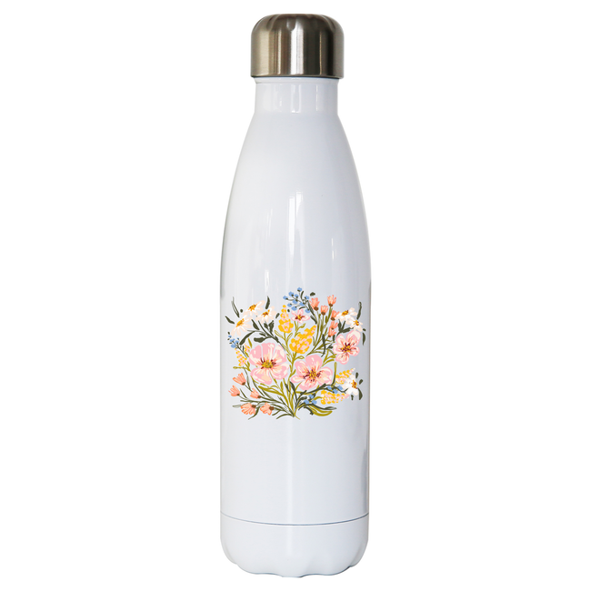 Wildflowers illustration stainless steel water bottle White