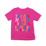 You're never too late to pursue your dreams kids t-shirts Pink