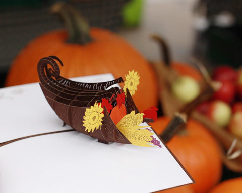 Cornucopia Pop Up Thanksgiving Card