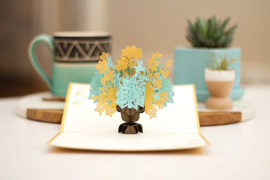 Floral Bouquet Gold 3D Pop Up Card