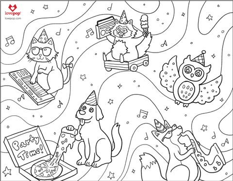 Coloring Pages: Party Animals