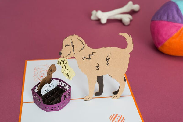 dog family pop up card