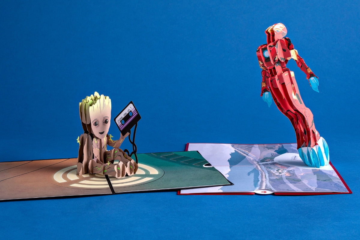 Iron Man and I am Groot pop up cards for Lovepop