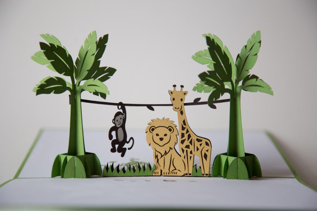 jungle animal friends pop up card