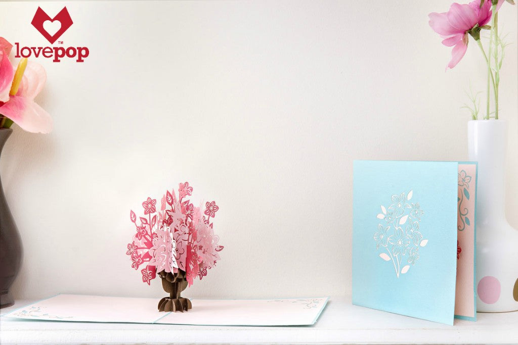 Pop. Delight. Surprise. Flowers. LovePop's Ornate Pink and Blue Floral Bouquet Paper Pop Up Card. #flowers