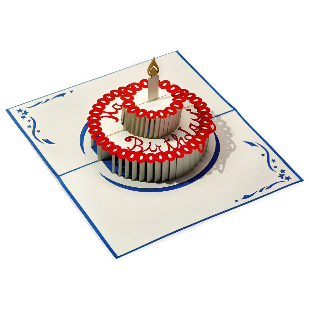 Full open red white blue paper 3D birthday cake.