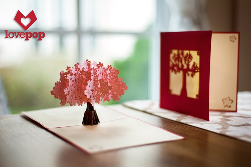 Our spectacular pink cherry blossom tree is in full bloom on the inside of this card!