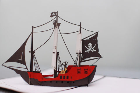 pirate ship 3d pop up card