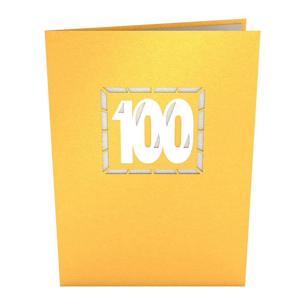 100th Celebration birthday pop up card