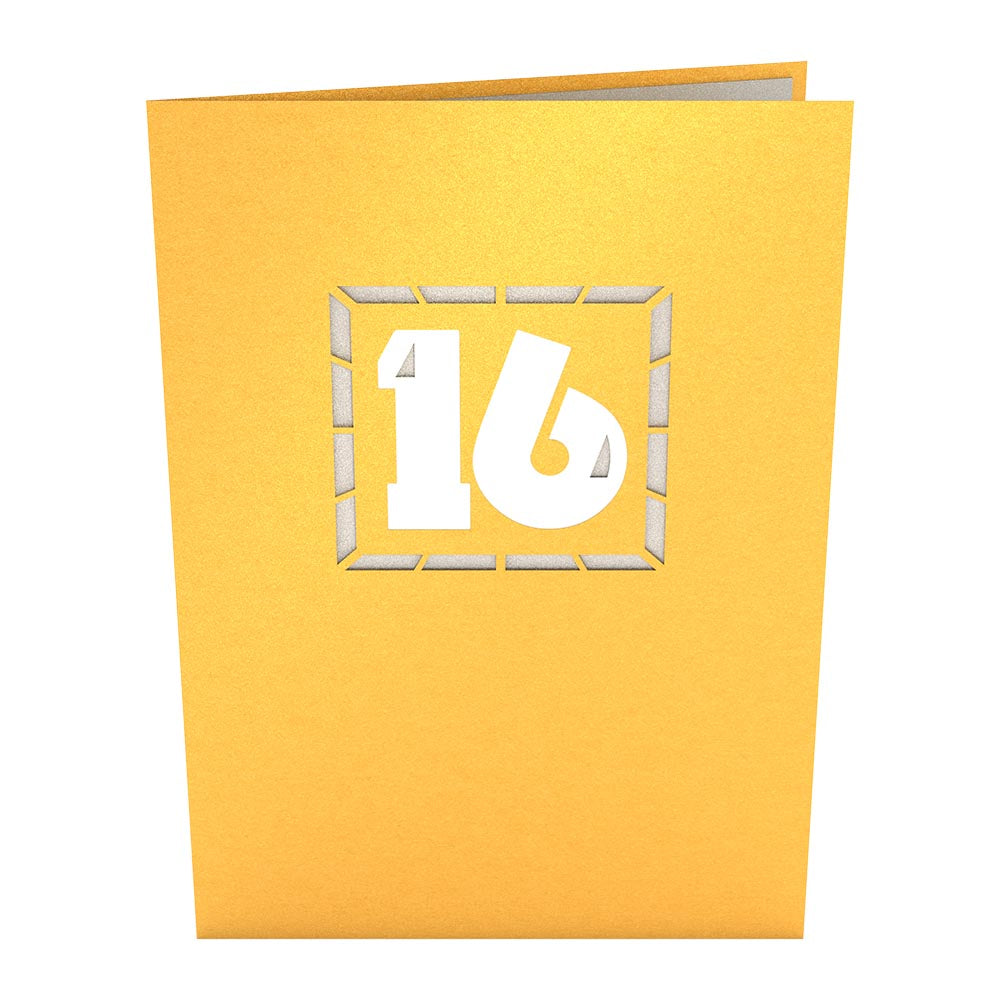 16th Celebration birthday pop up card