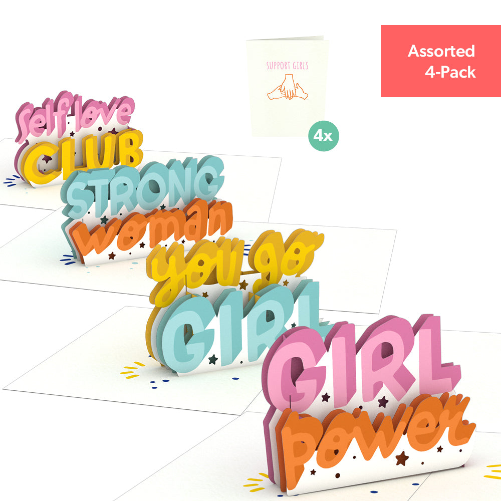Girl Power Notecards (Assorted 4-Pack)             pop up card