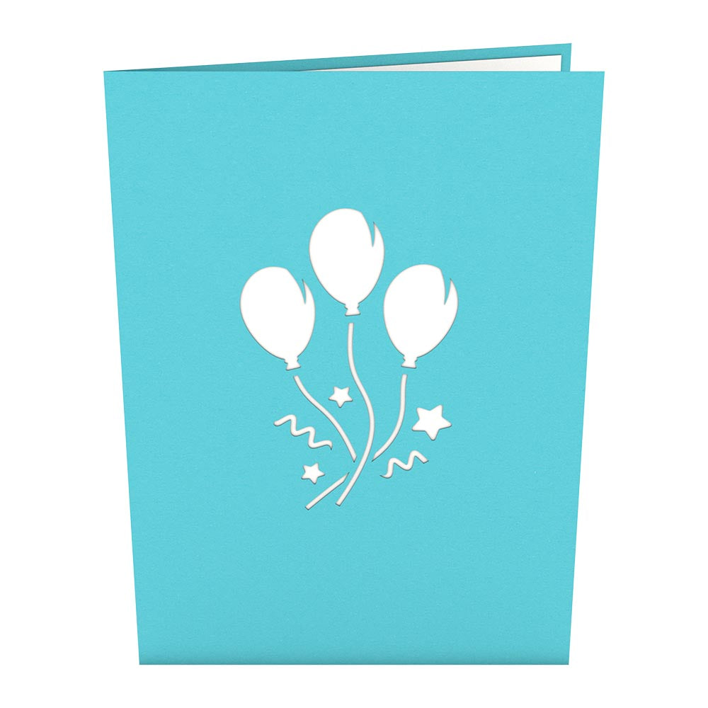 Blue Balloon Bunch             pop up card