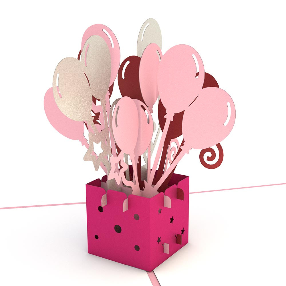 Pink Balloon Bunch             pop up card