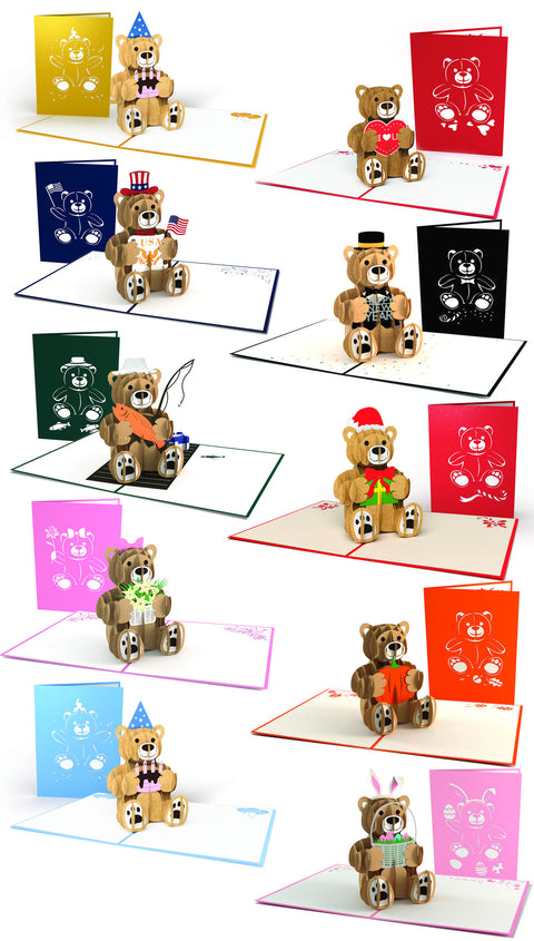 A Bear for Every Season Pop-up Card 10 Pack greeting card -  Lovepop