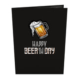 Beer-th Day birthday pop up card - thumbnail