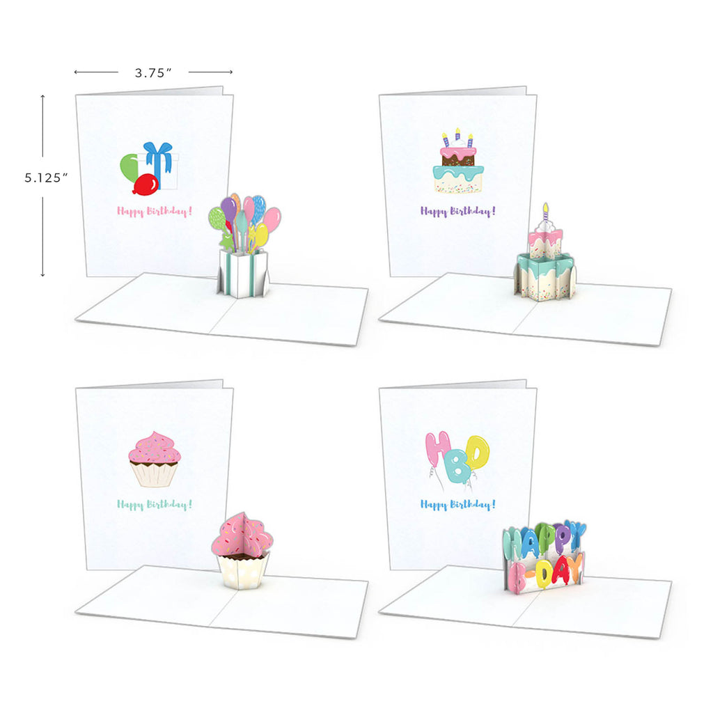 Notecard 4-Pack: Birthday pop up card