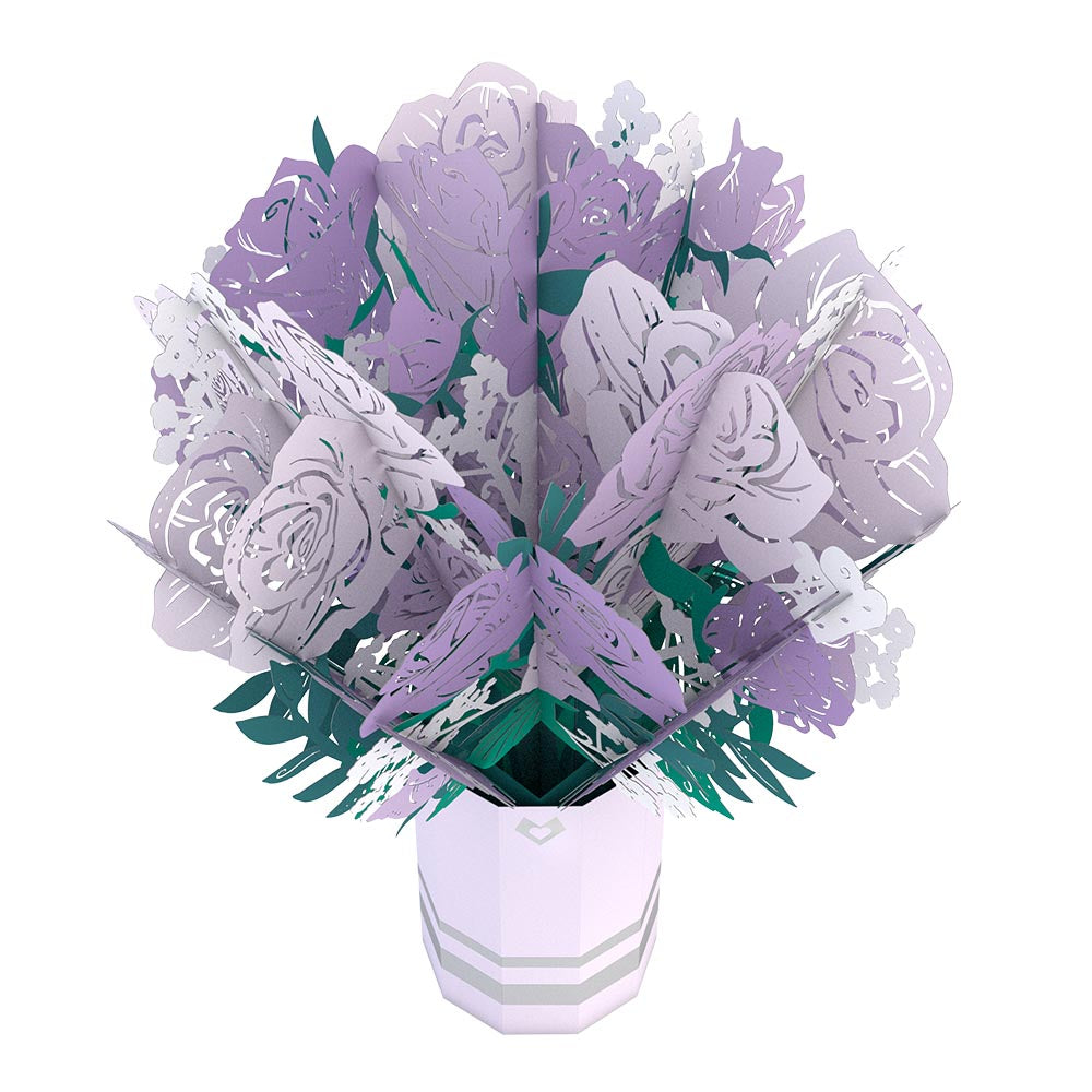 Purple Rose Bouquet             pop up card