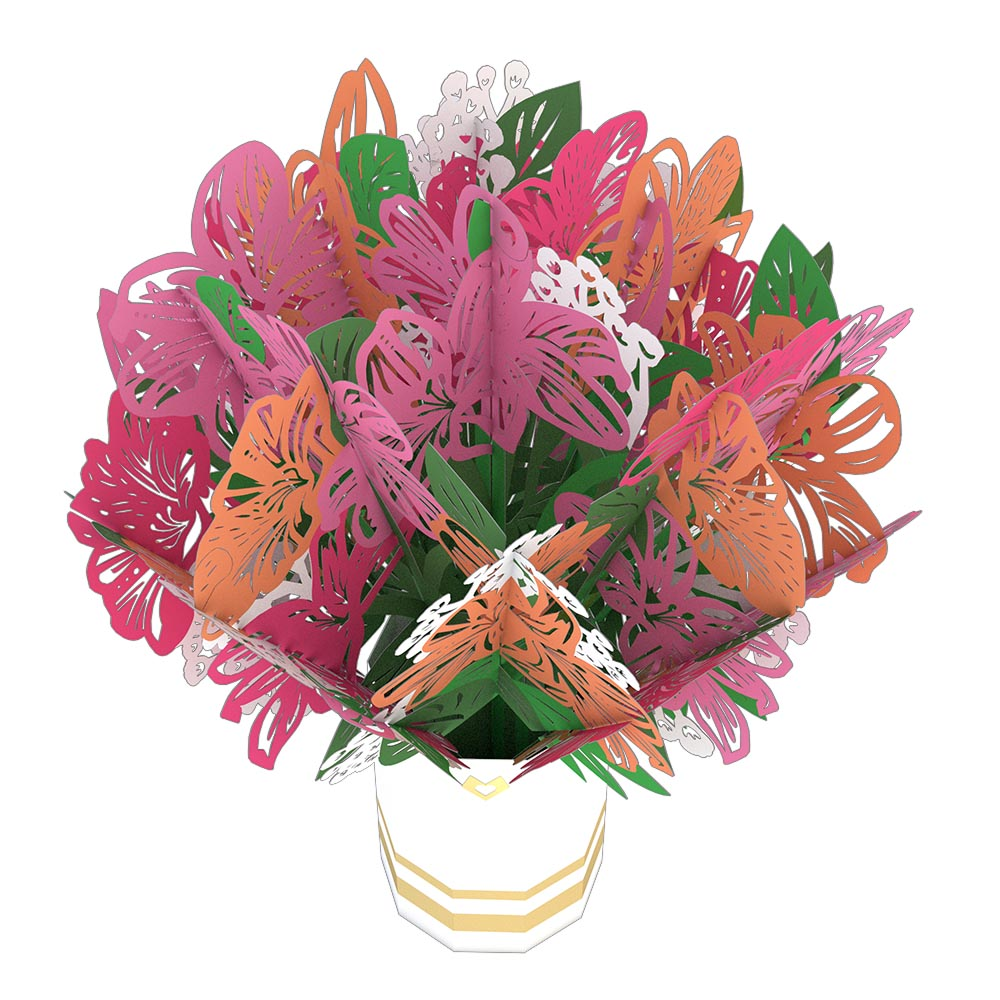 Pink Lily Bouquet             pop up card