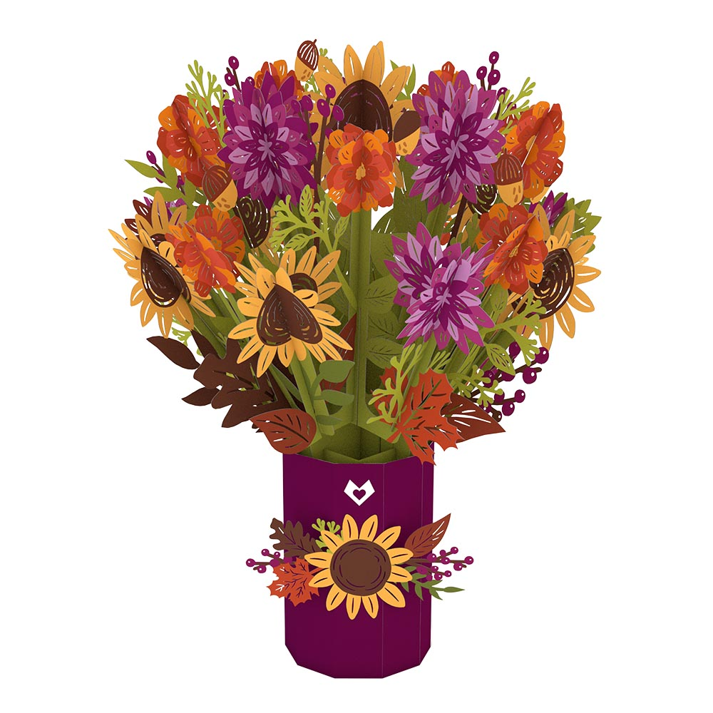 Fall Flower Bouquet             pop up card