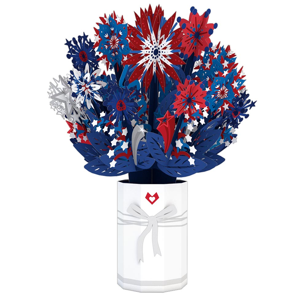 Patriotic Flower Bouquet             pop up card