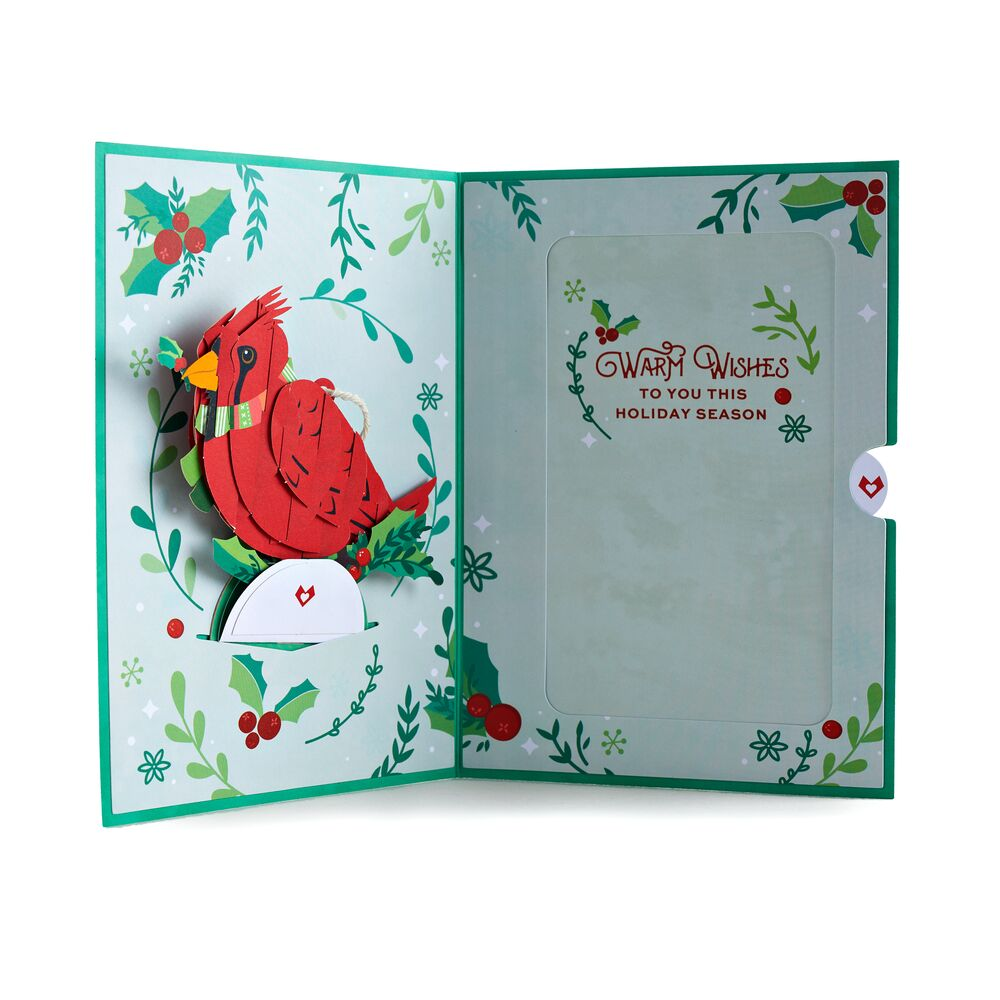 Holiday Cardinal Card with Ornament             pop up card