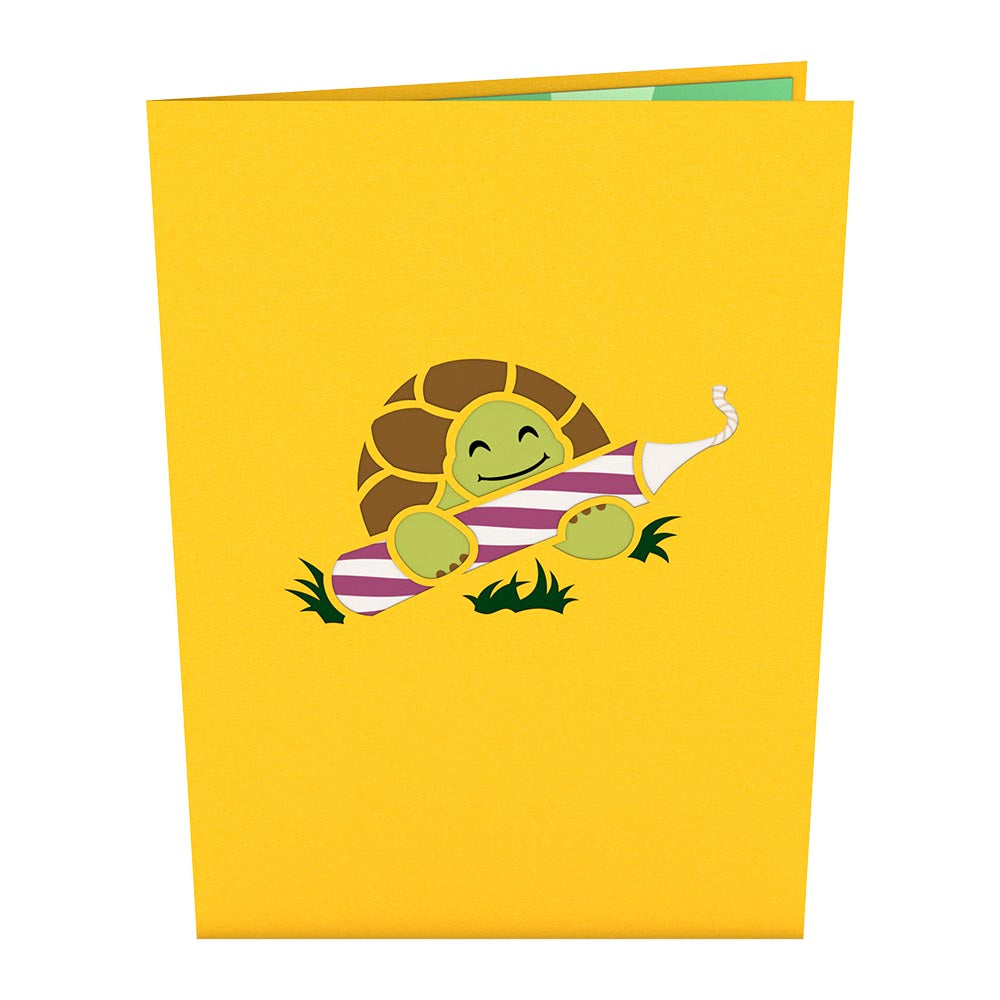 Celebration Turtle birthday pop up card