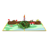 Celebration Turtle birthday pop up card - thumbnail