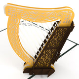 Celtic Harp pop up card - thumbnail