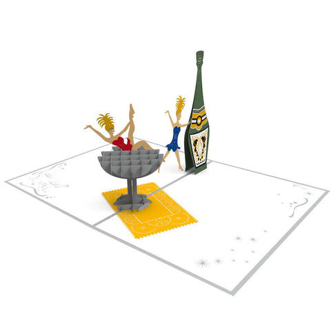 Champagne Ladies Pop Up New Year Card greeting card -  Lovepop