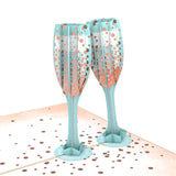Champagne Toast birthday pop up card - thumbnail