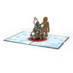 Chewie & Porgs Christmas greeting card -  Lovepop