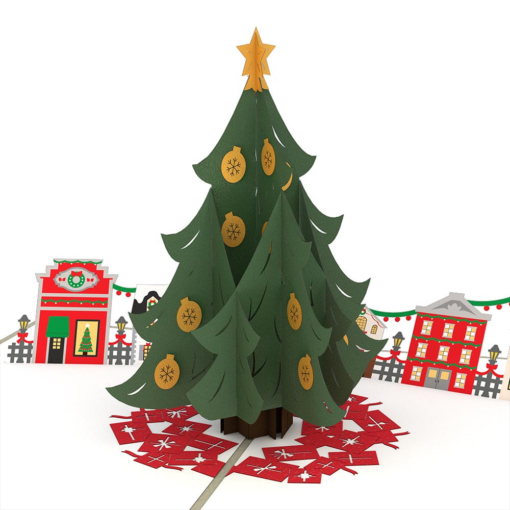 christmas tree village pop up card - Pop Up Decorated Christmas Tree