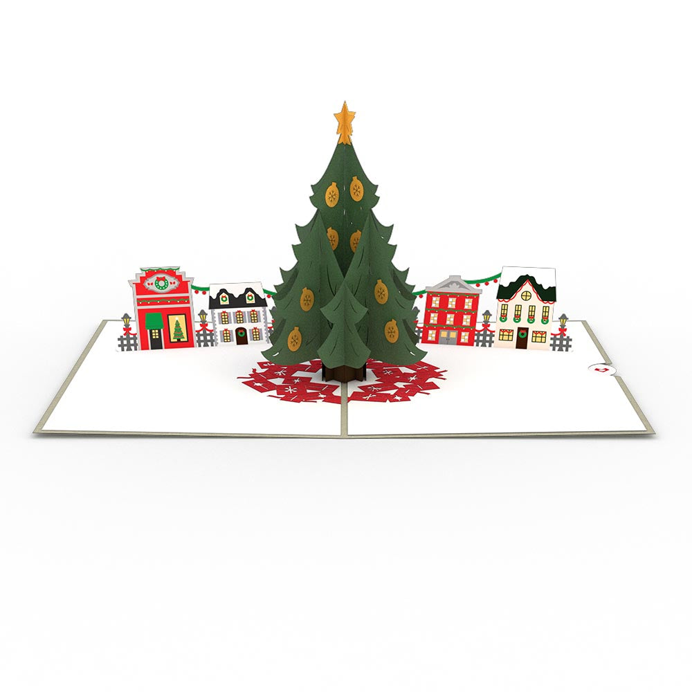 Explore the Beautiful Christmas Tree Village 3D Pop Christmas Card