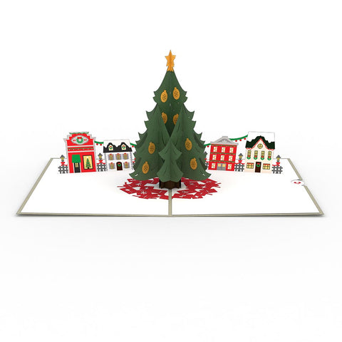 christmas tree village greeting card lovepop - Holiday Christmas Cards