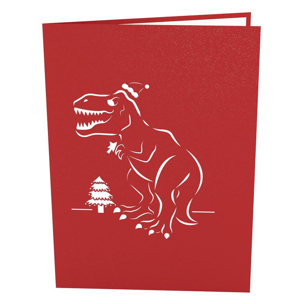 Christmas T-Rex pop up card