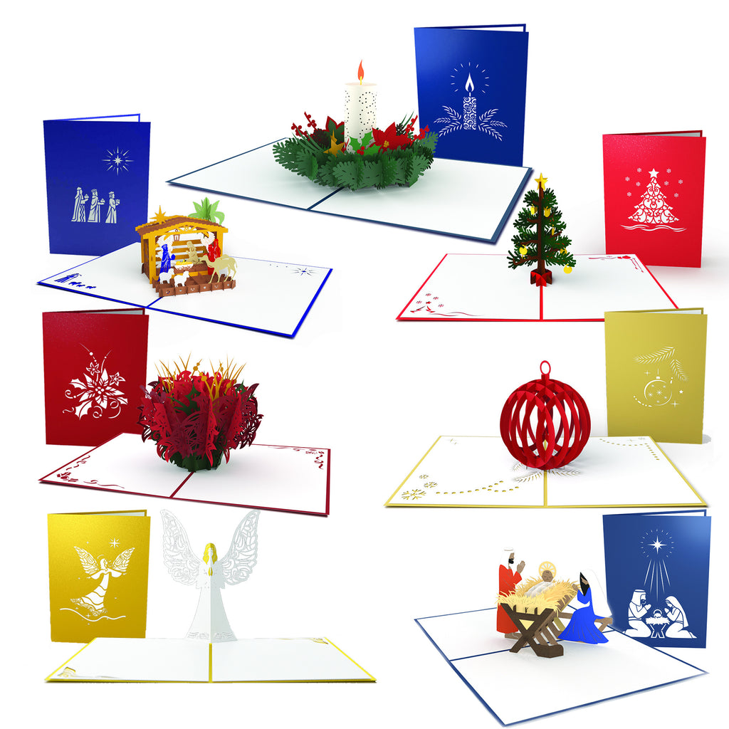 Classic Christmas 7 Pack pop up card