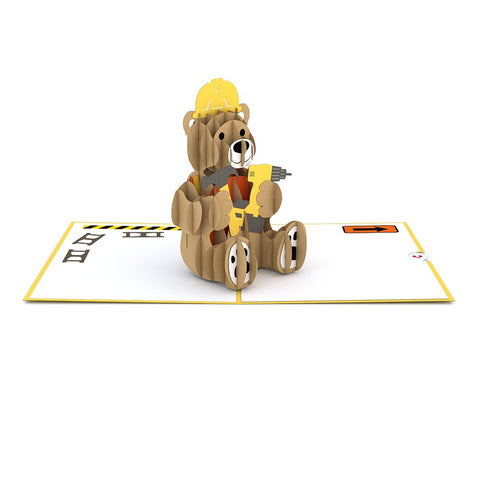 Construction Bear greeting card -  Lovepop