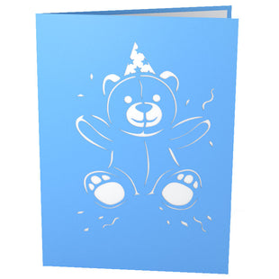 Blue Birthday Bear Pop Up Birthday Card