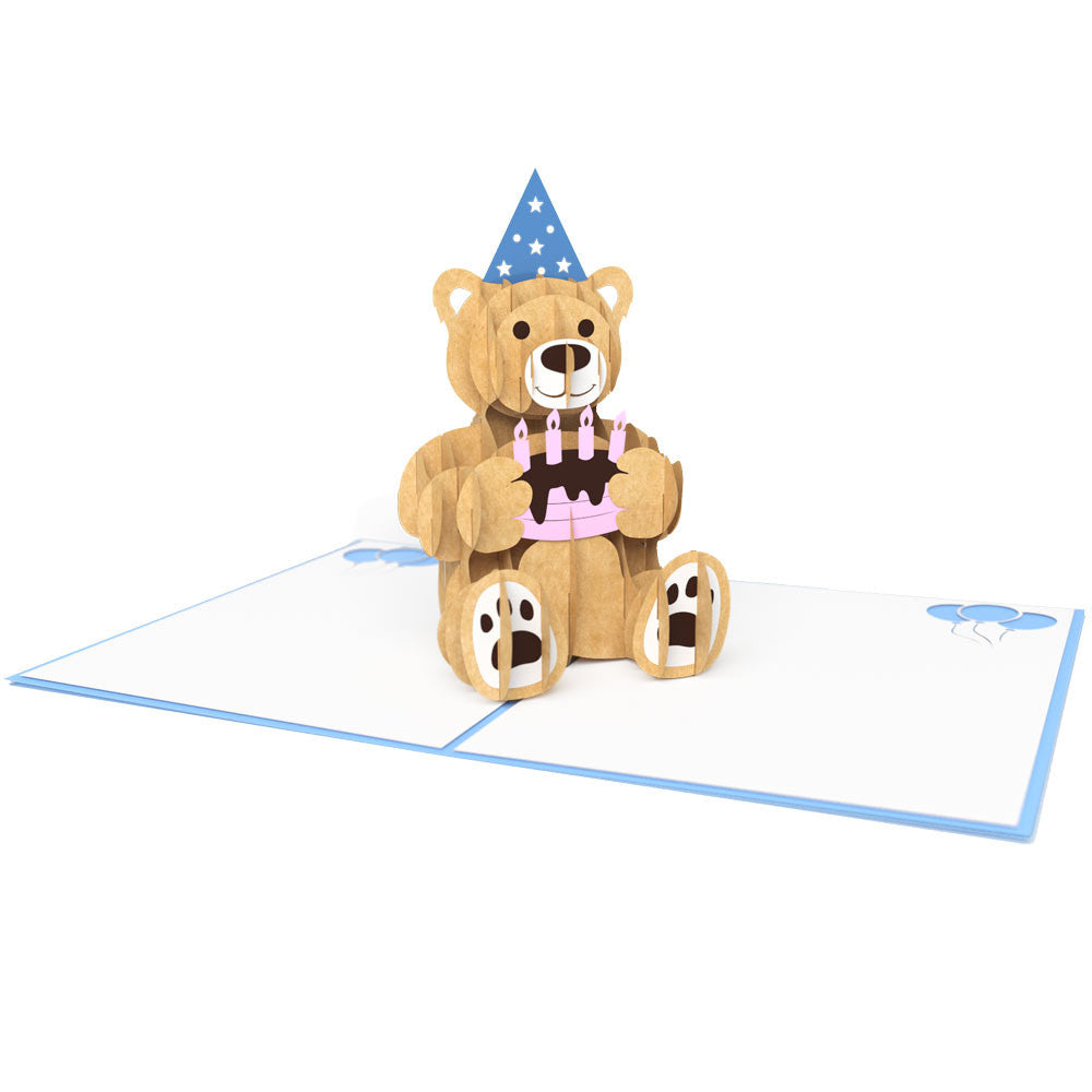 Blue Birthday Bear pop up card