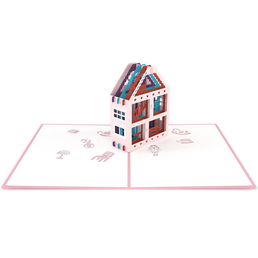Dollhouse birthday pop up card