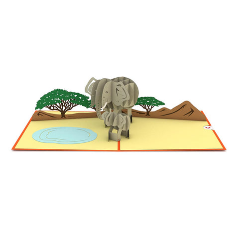 Elephant Family Pop Up Card greeting card -  Lovepop