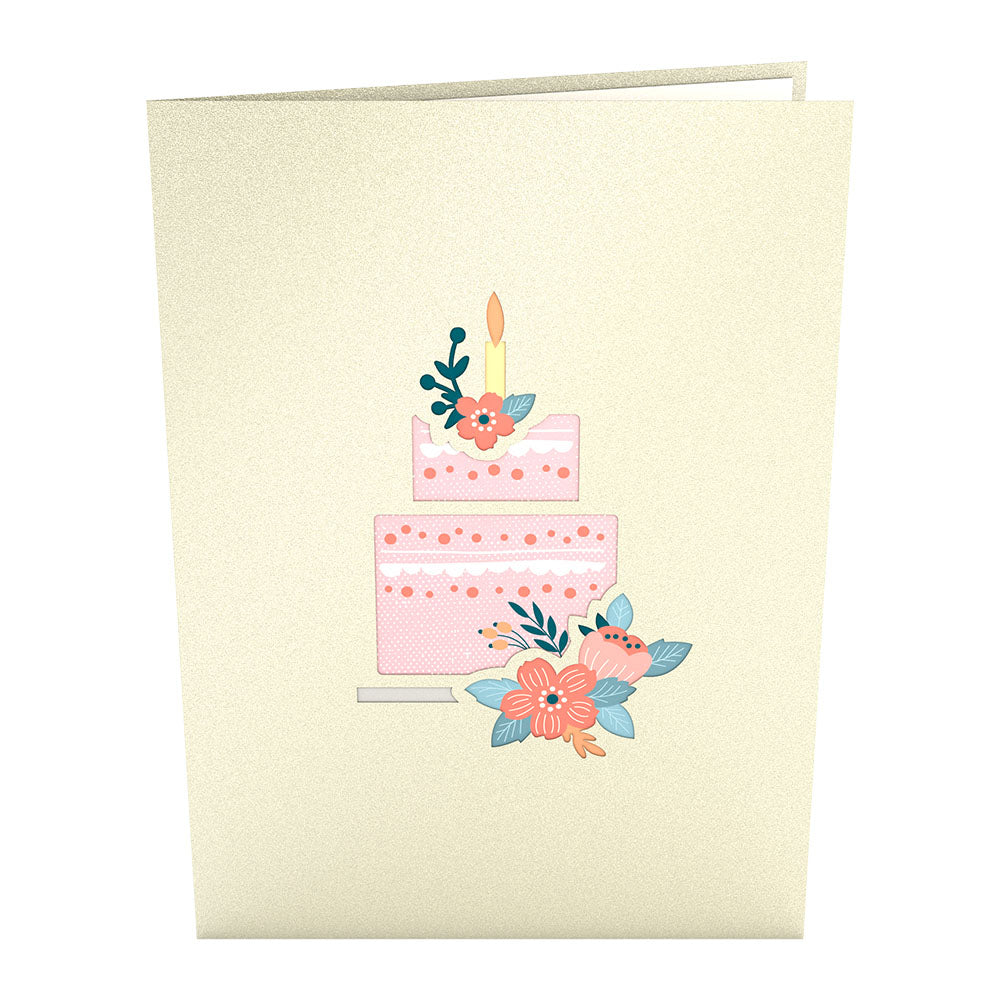 Floral Birthday Cake pop up card