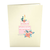 Floral Birthday Cake pop up card - thumbnail