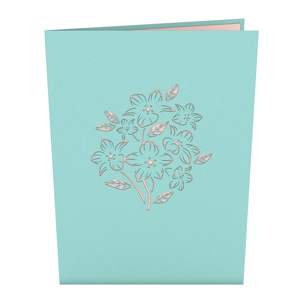 Floral Bouquet Blue birthday pop up card
